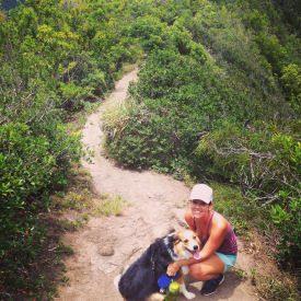 along hike with dog