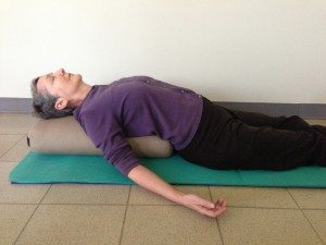 restorative yoga supported fish pose