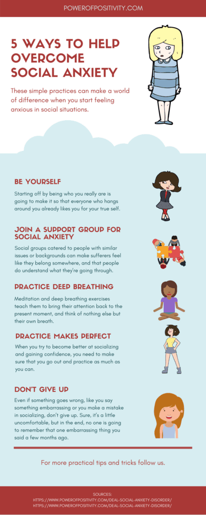 Ways to help overcome social anxiety infographic