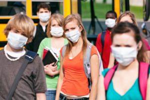 school students wearing masks